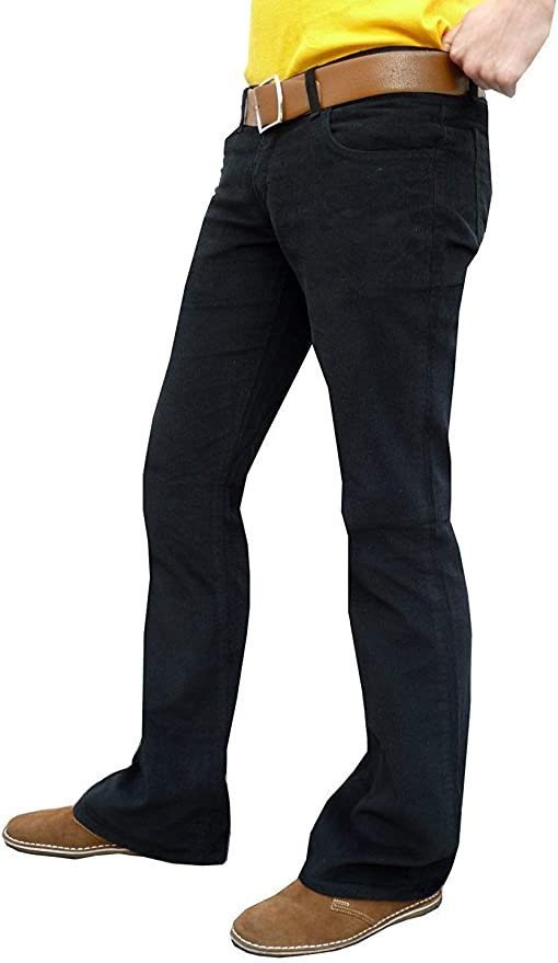 Hippie Pants, Jeans, Bell Bottoms, Palazzo, Yoga Fuzzdandy Mens Black Bootcut Flares Corduroy Indie Retro Flared Trousers £33.99 AT vintagedancer.com