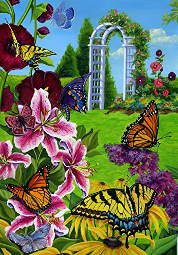 (Toland Home Garden Butterflies in the Garden 28 x 40 Inch Decorative Colorful Spring Butterfly Flower House Flag)