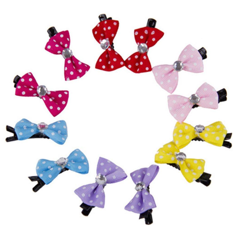 Greenlans 10PCS/Pack mini cute Bow Pet Dog Cat forcina fascino nastro fiocco per capelli–colore casuale