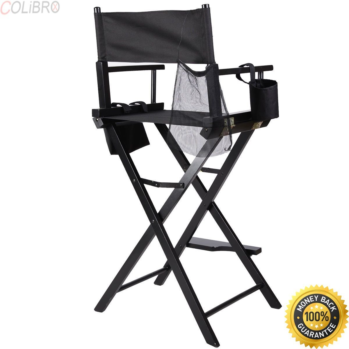 COLIBROX--Professional Makeup Artist Directors Chair Wood Light Weight Foldable Black New Professional Makeup Artist Directors Chair Aluminum Frame Light Weight and Folding Black