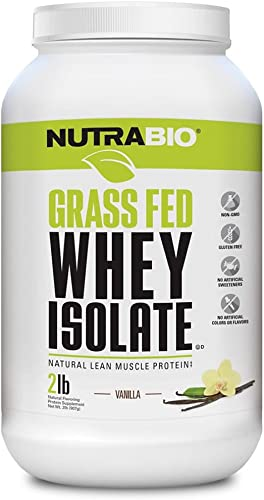 NutraBio Grass Fed Whey Isolate Protein Vanilla, 2 Pounds