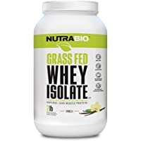NutraBio Grass Fed Whey Isolate Protein (Vanilla, 2 Pounds)