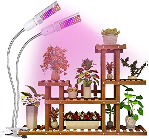 Grow Light, Relassy Updated 15000Lux LED Full Spectrum Grow Lamp for Indoor Plants with Red Blue Spectrum LEDs, Adjustable Gooseneck, 3 Switch Modes, 2 Independent Lamps