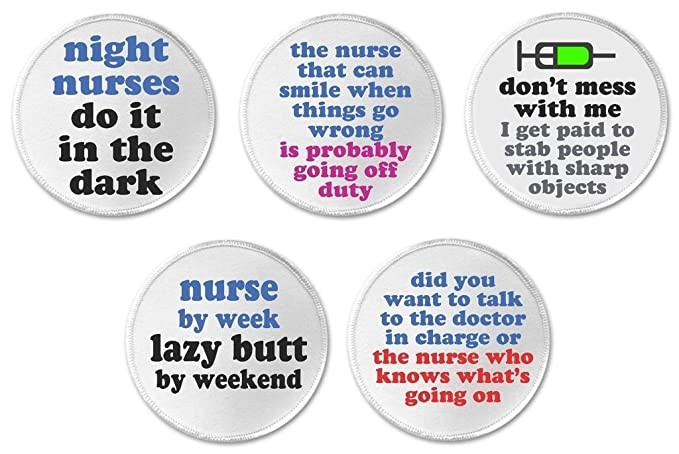 Amazoncom At Designs Set 5 Nursing Funny Humor Quotes 3 Sew On