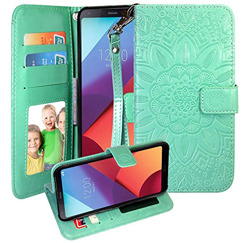 Galaxy S8 Active Case, Harryshell PU Leather Kickstand Flip Wallet Protective Case Cover with Card Slot Wrist Strap Photo Frame for Samsung Galaxy S8 Active (Mint)