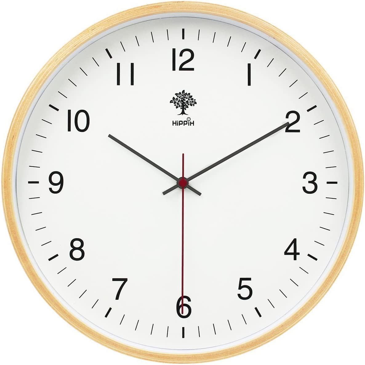 HIPPIH Wall Clock - 8 Inch Digital Sweep Decorative Vintage Wooden Clocks Easy to Read for Office/Kitchen/Bedroom/Living Room/Classroom, Upgraded