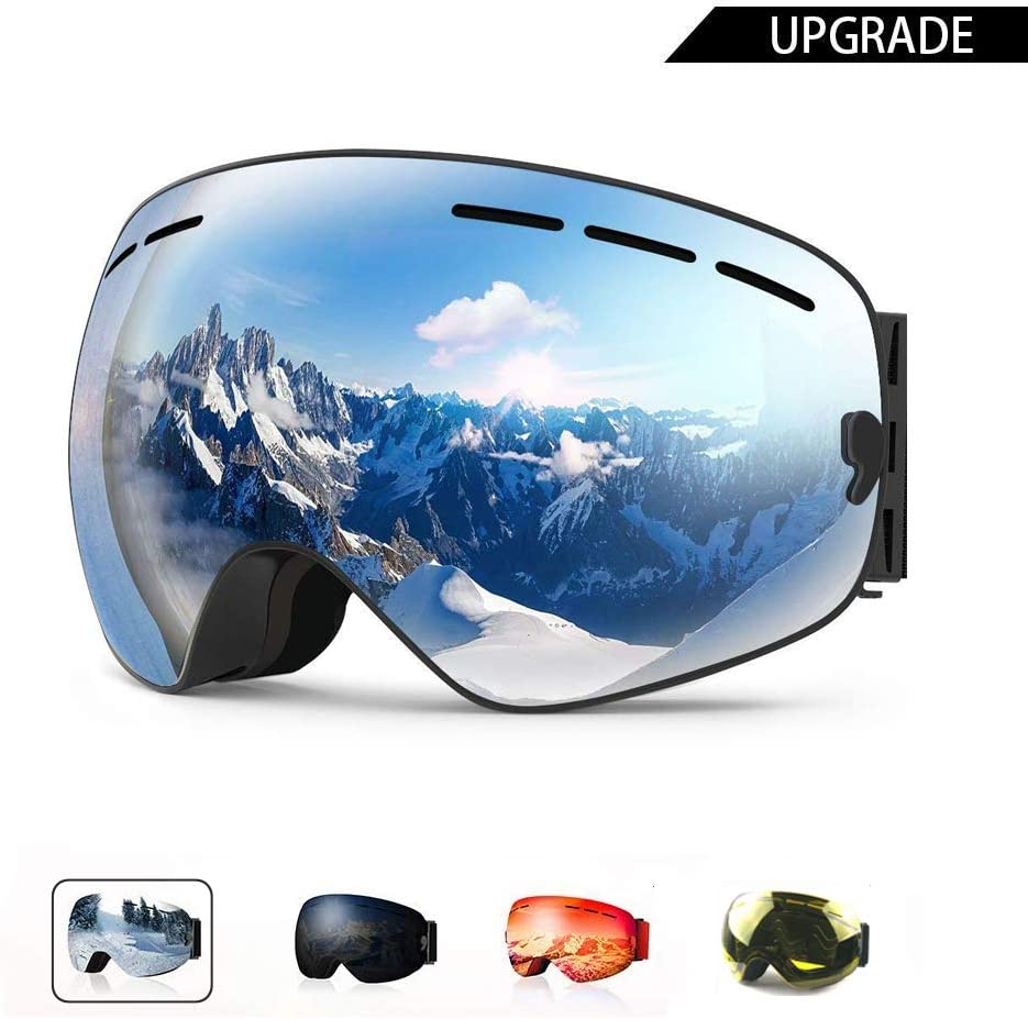 AXRASER Ski Goggles, Magnetic Snowboard Snow Goggles -2 Seconds Quick Change Lens, Imported Double-Layer Anti Fog Lens -UV400 Over Glasses OTG Helmet Compatible Silver