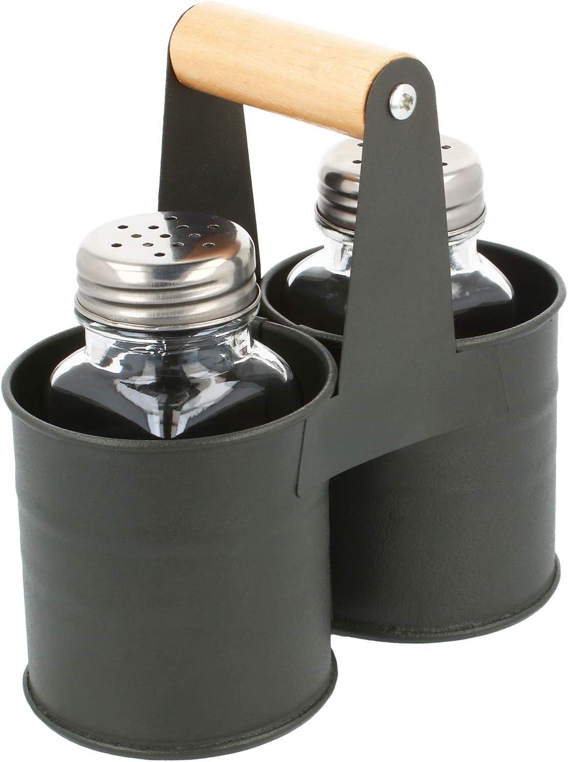 sal y pimienta con soporte de metal a juego 01 pieza - con soporte com-four/® 3 piezas Juego de agitador de especias de hecho de vidrio