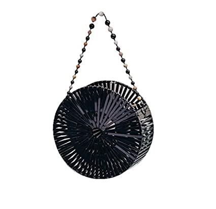 Women Craft Bamboo Basket Bag Circle Straw Beach Bag Female Round Summer Woven Rattan Handbags Shoulder
