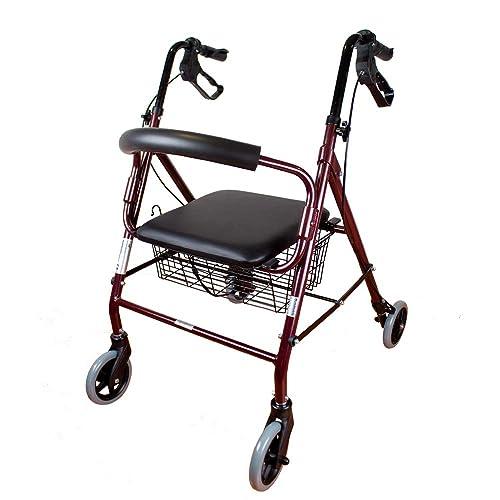 Mobiclinic Andador para Ancianos de 4 Ruedas | Aluminio Ultraligero | Plegable | con Frenos de Mano y Puños Ergonómicos | Incluye Cesta | Peso máximo soportado 120 kg | Modelo Escorial