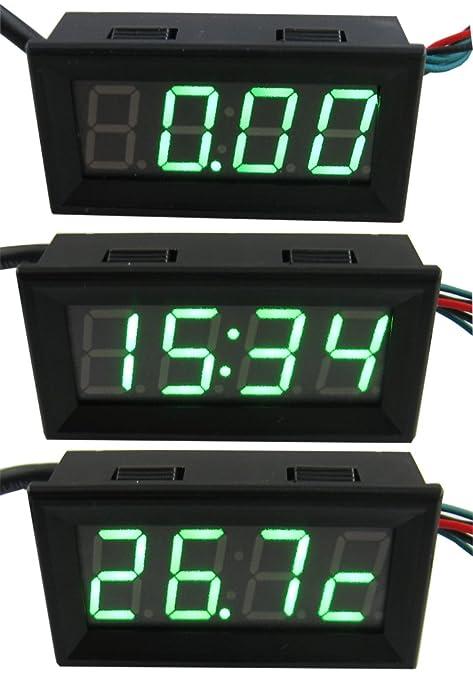 yeeco 3 in 1 3 wire dc0 33v 0 56 dc digital voltmeter voltage panel rh amazon co uk