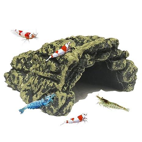 SLOME Decoración de cueva de camarón para acuario – refugio de resina para esconderse o Betta