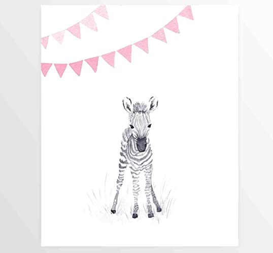Amazon.com: Pink, Baby Girl, Zebra, Baby Zebra, Watercolor Painting ...