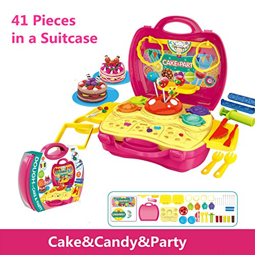 41 Pcs Toy Cake Candy Party Kits in Suitcase Plasticine Modeling Clay Artist Toy Variety of molds 5pcs Bright Color Doughs Clay Plasticine Environmental non-toxic Clay (Halloween Pasta Brains)