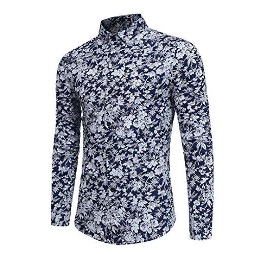 La Hombre Camisas hombres De Larga Camisa Blusa Tops Armada Casual Slim Personalidad Impresa Manga Verano qAqtUZWfnw