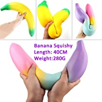 XuBa 40 cm Big Fun Squishy Toy Banana Lovely Stress Reliever Slow Rising Kids Squeeze Toys Decoration Birthday Christmas Xmas Gift Present for Kids