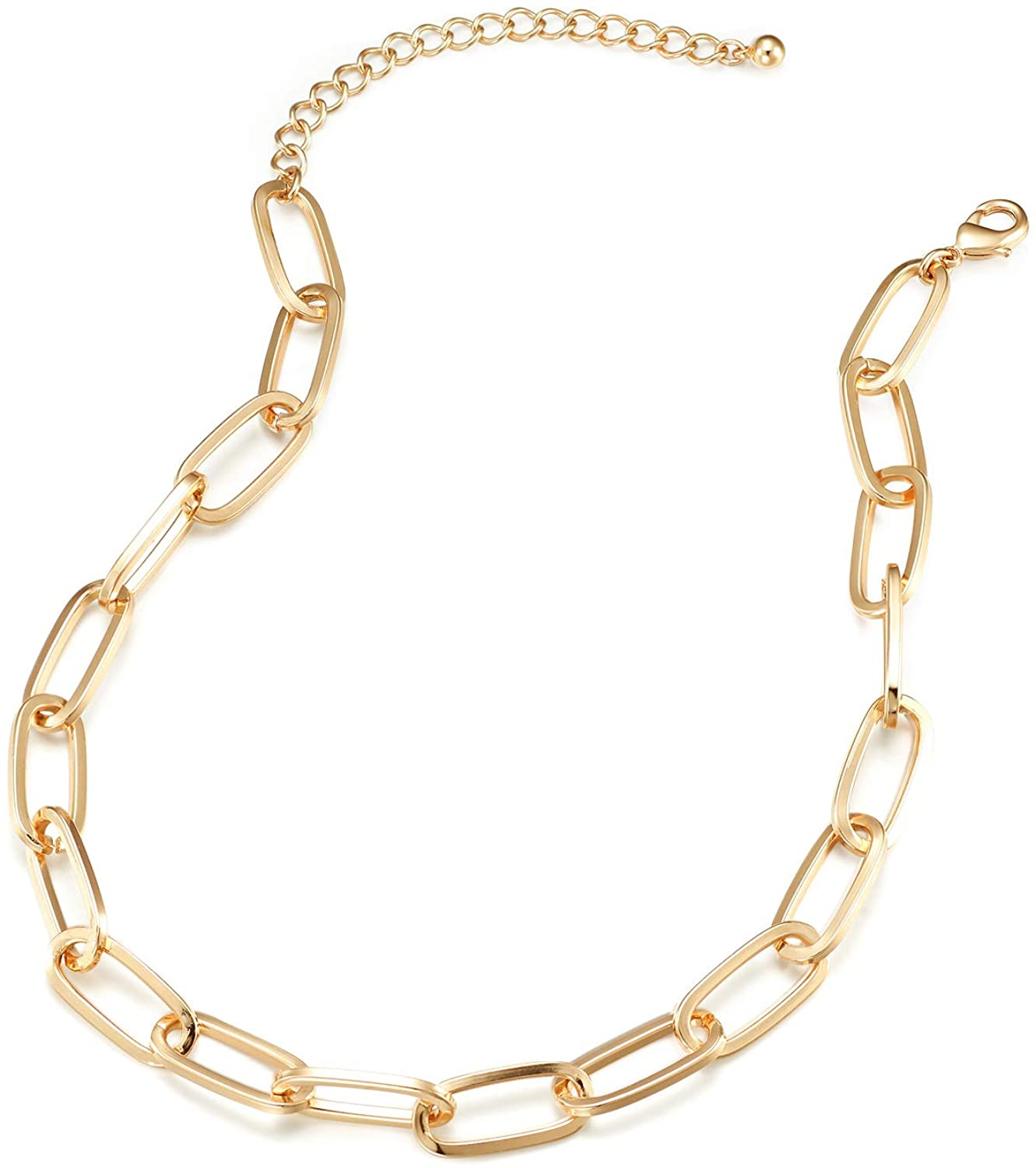 GL526CHN Heavy Gold Plated Anti-Tarnished Coated, Chunky Paperclip Chain