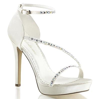 08b2783e7c2215 Summitfashions Womens Ivory White Satin Sandals Rhinestone Detail 4 3 4  Inch Heel Bridal Shoes