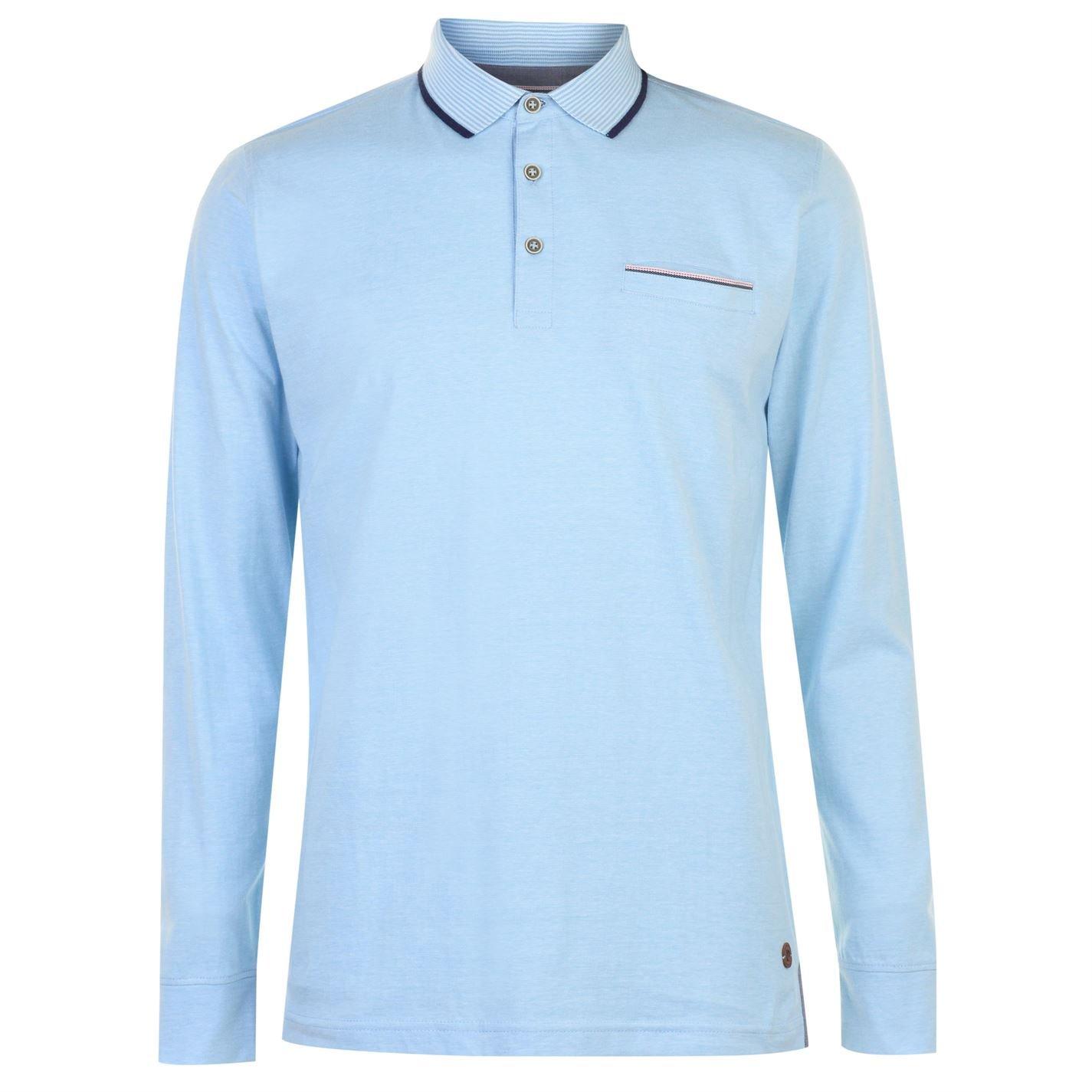 Pierre Cardin Hombre Yarn Dye Camisa Polo Manga Larga Sky/Blanco L ...