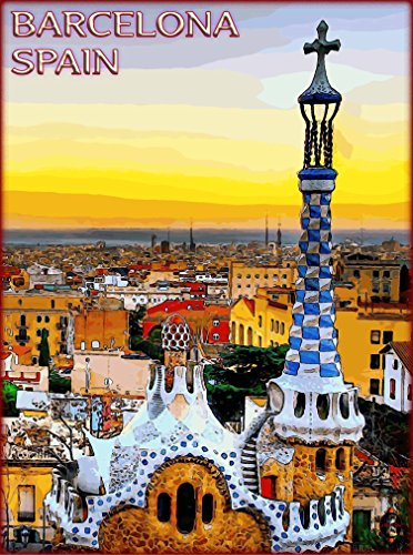 (A SLICE IN TIME Barcelona Cityscape Spain Spanish Europe European Travel Advertisement Collectible Wall Decor Poster Picture Print. Poster measures 10 x 13.5 inches )
