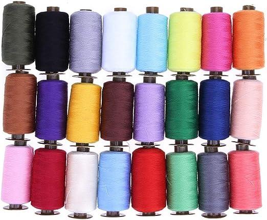 60 / Hilo de coser de poliéster de 24Pcs máquina del bordado del hilo de coser a mano bricolaje hacer punto Hilo Craft Accesorios de costura,24 colores de 1000 Yard,un tamaño: Amazon.es: