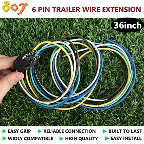 807 Square 6-Way Trailer Wiring Harness Connectors,6 pin Square Trailer Wire Extension for LED Brake Tailgate Light Bars,Hitch Light Trailer Wiring Harness Extension Connector (6 Way-Plug) ()