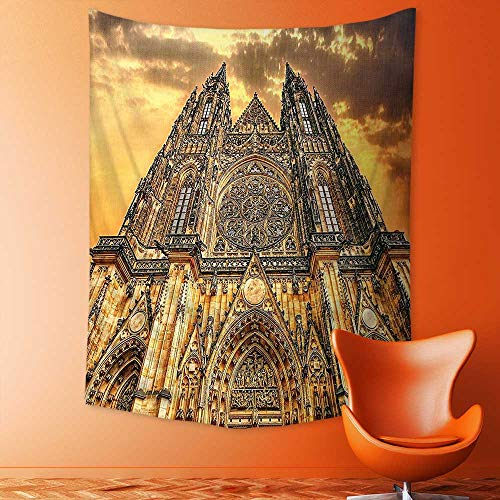 aolankaili Psychedelic Tapestry Famous Cathedral European Church Catholic Gifts Sunset Tower Medieval Architecture Prague Picture Tapestries Wall Hanging Tapestry for Bedroom Living Room Dorm by aolankaili