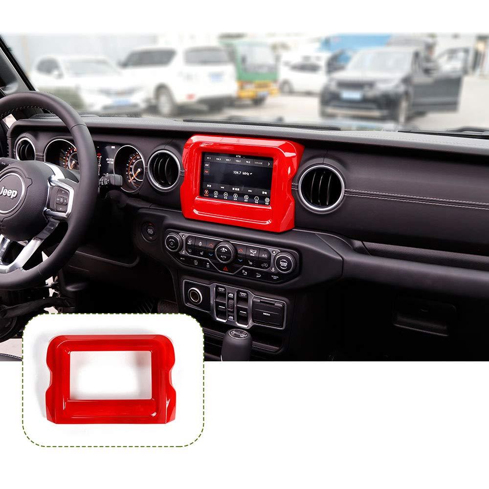 RT-TCZ 7 Carbon Fiber ABS Dashboard GPS Navigation Panel Frame Cover for 2018-2020 Jeep Wrangler JL JLU