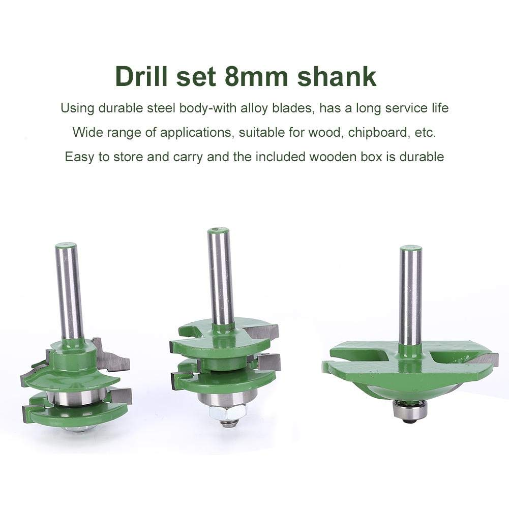 Wood Milling Cutter 3Pcs 8-Shank T Shape Router Bit Set Router Bit Set Adjustable Cabinet Door Router Bit Kit 3Pcs for Commercial Users and Beginners