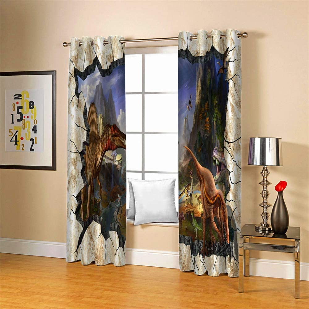 zzqxx Blackout curtains for bedroom kids dinosaur eyelet curtains Thermal Insulated Room Darkening Curtain for living room Nursery Home Decoration 75x166cm x2