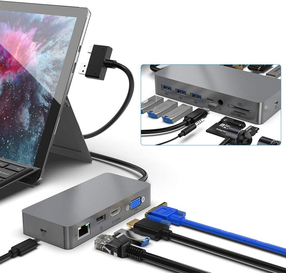 Surface Pro Dock para Surface Pro 4/5/6, Docking Station Dual Monitor con 4K puertos HDMI/2K VGA, RJ-45 Gigabit Ethernet, 3 puertos USB3.0/USB C, interfaz de audio, lector de tarjetas SD/TF, micro USB