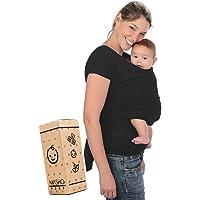 Fular elástico/Baby wrap (portabebés), rebozo para múltiples amarrados y posiciones, Negro, 100% algodón respirable con spandex, para bebés de 0 a 15 kg