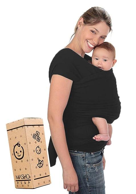 Fular Baby wrap Carrier Sling. Ideal for New Moms or Baby Shower Gift (Black)