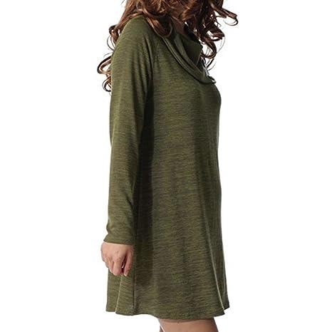 OverDose vestidos mujer fiesta elegante de cuello asimétrico de solapa manga larga: Amazon.es: Ropa y accesorios