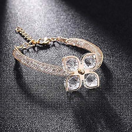 Gaoxingbianlidian001 La nueva joyería de las pulseras y los brazaletes del encanto de cristal for las mujeres flor de mariposa Elasticidad Cuff Wrap pulseras for las mujeres ,Delicado ( Talla : 98 )