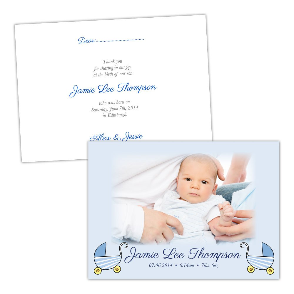 A5 double-sided Silk card Made by Mika Personalised baby announcements STROLLER blueE PHOTO BOY FREE DRAFT & FREE ENVELOPES (200, A5 double-sided Silk card)