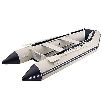 Barco inflable para pesca en río, rafting pesca flotador de goma barco remos de aluminio pontón barco: Amazon.es: Deportes y aire libre