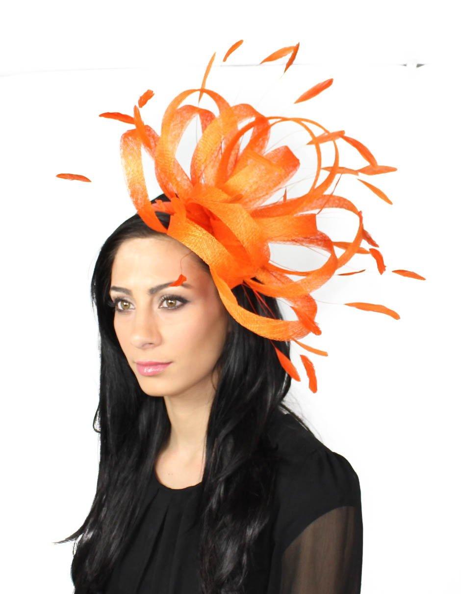 Pretty Persian Orange Ascot/Derby Fascinator Hat - With Headband
