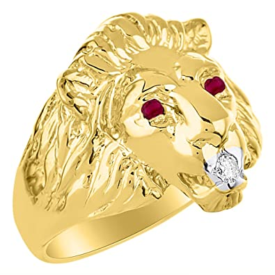 e4a4ba2e334407 Lion Head Ring set with Genuine Diamond in mouth & Natural Rubies in eyes 14K  Yellow