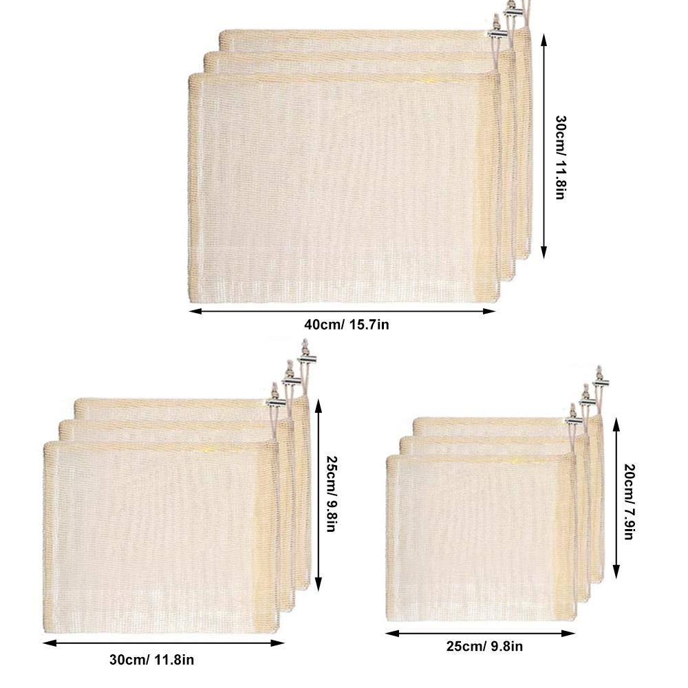 AOLVO r/éutilisables Produire des Sacs Zero Wast Coton en Maille Sac Eco Bio biod/égradable Sacs Recyclable Sac de l/égumes Lot de 9/Medium-Large-Extra Grande