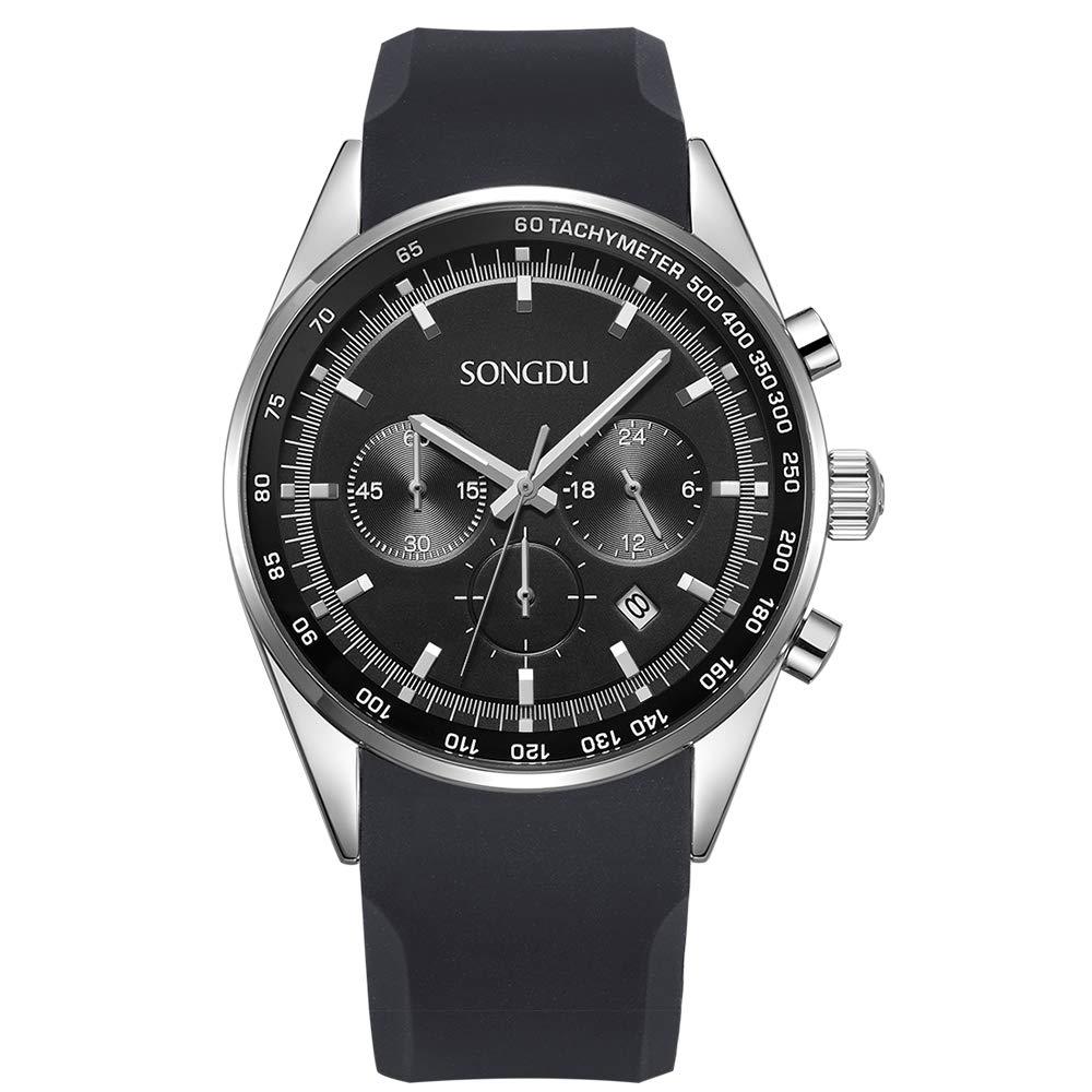 SONGDU Men's Sports Date Multifunction Chronograph Stainless Steel Wrist Watch (Black)