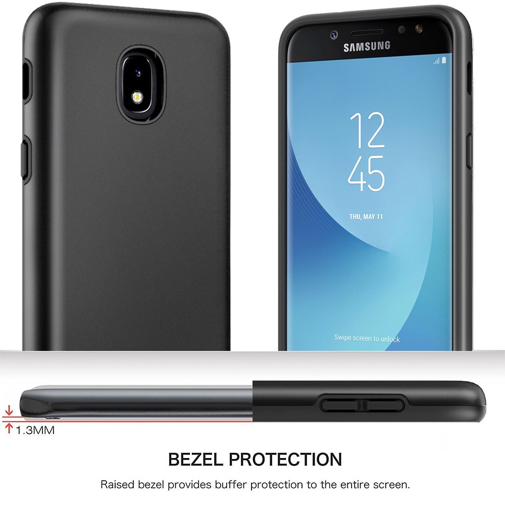 Samsung Galaxy J7 Refine Case, Galaxy J7 2018/ J7 V 2nd Gen/J7 Star/Galaxy J7 Aero/J7 Top Case, Androgate Hybrid Shock Absorption Protective Case with TPU Full Coverage Screen Protector, Black