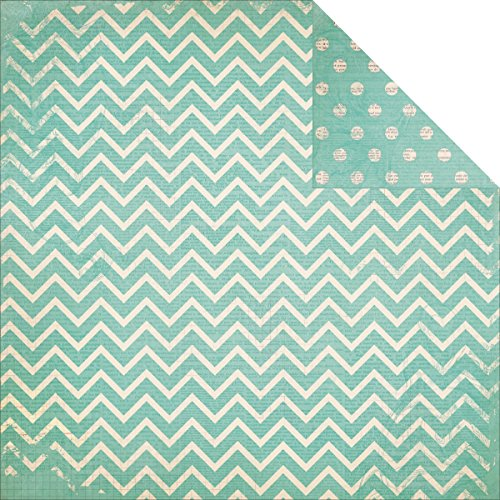 Bobunny Double Dot Chevron Double-Sided Cardstock 12''X12''-Island Mist by Bo Bunny