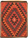Ecarpetgallery Hand-made Casual Pillows Geometric 2' x 3' Orange 100% Wool area rug