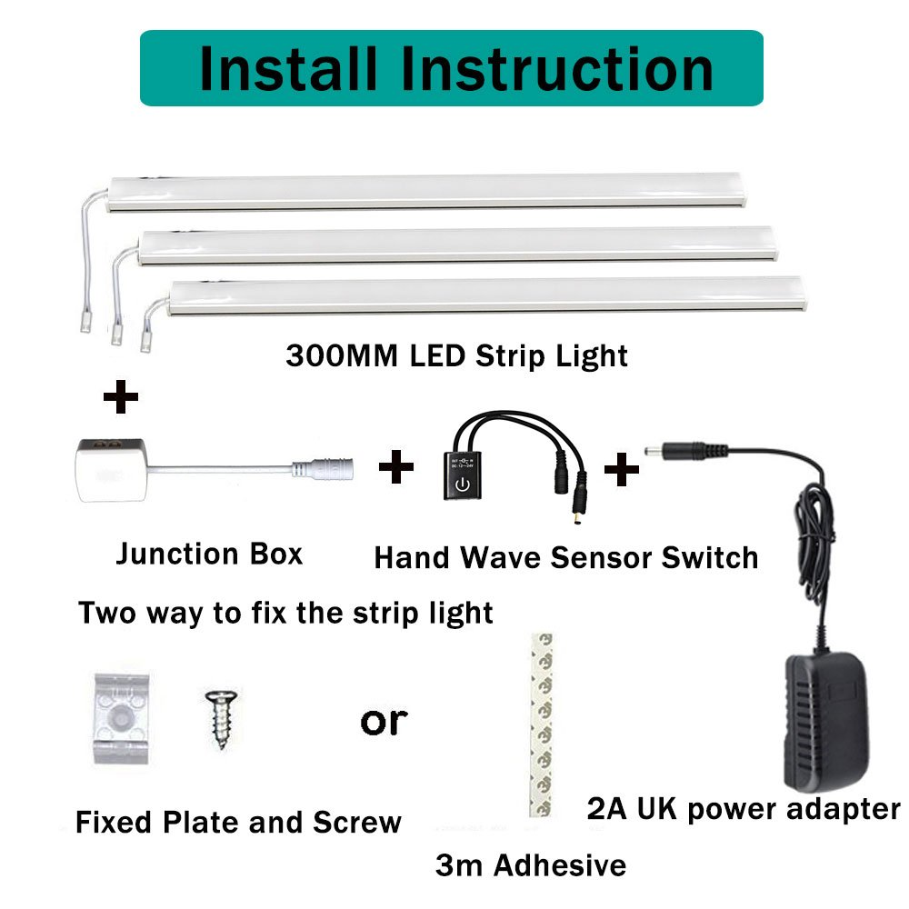 Led Under Kitchen Cupboard Cabinet Strip Lights Kit Luxvista Hand Two Way Sensor Switch Wave Activated Light On Off By 3x300mm 18w Dc 12v For