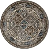 Art Carpet Arabella Collection Comfort Panel Woven Round Area Rug, Round 7'10'', Gray/Brown/Blue