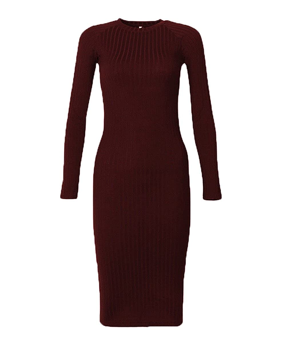 6c6c203c9a9 Women s Solid Long Sleeve Bodycon Ribbed Knitted Casual Turtleneck Sweater  Dress Basic Dress For Woman Teen Girls at Amazon Women s Clothing store
