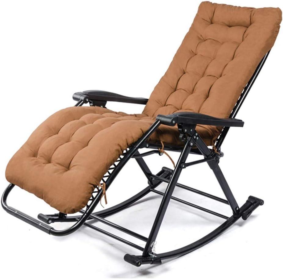 WJZJ Rocking Chairs Cotton pad Liegestuhl verstellbar Optionales WattepadBlack Schaukelliege Schaukelstuhl Klappbarer Verstellbarer Relaxsessel Liegestuhl