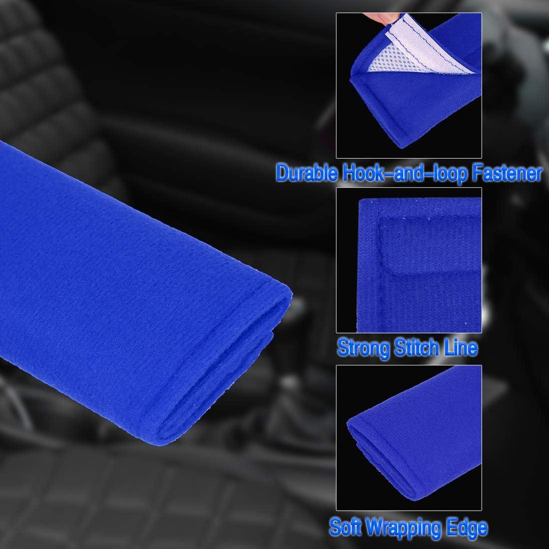 X AUTOHAUX 3 Pairs Blue Soft Warm Polyester Car Seat Belt Cover Shoulder Pads 26.5x6.5cm