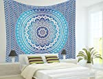 Aakriti Gallery Montreal Tappassier Ombre Indian Wall Hanging Hippie Mandala Tapestry Bohemian Bedspread Ethnic Dorm Decor, Blue